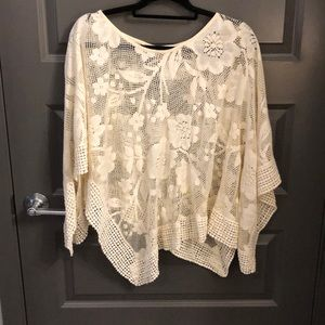 Free People Floral Crochet Poncho